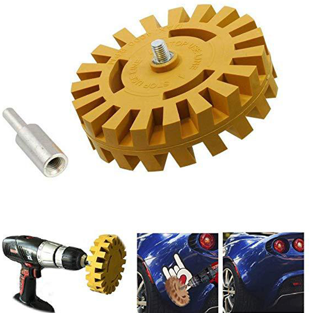 4 Inch Power Drill Adapter Decal Removal Anti Scratch Practical Pinstripe Quick Eraser Wheel Rubber Effective Smooth Auto