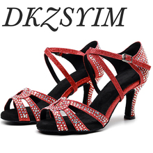 DKZSYIM ladies party dance shoes satin shiny rhinestone soft bottom red Latin dance shoes ladies salsa dance shoes heel 6-10CM free shipping suphini customized salsa dance shoes special lady ballroom latin dance shoes