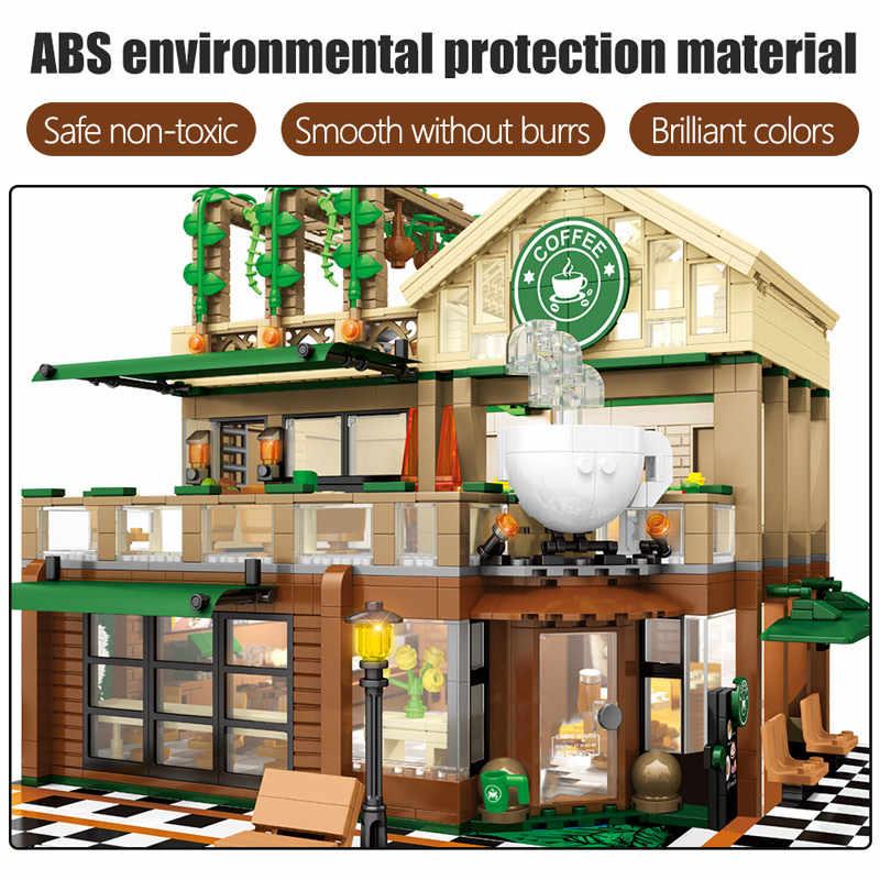 SEMBO 2059Pcs Kreative Café Café Modell Bausteine Stadt Street View Casual Haus Figuren Ziegel Spielzeug für Kinder
