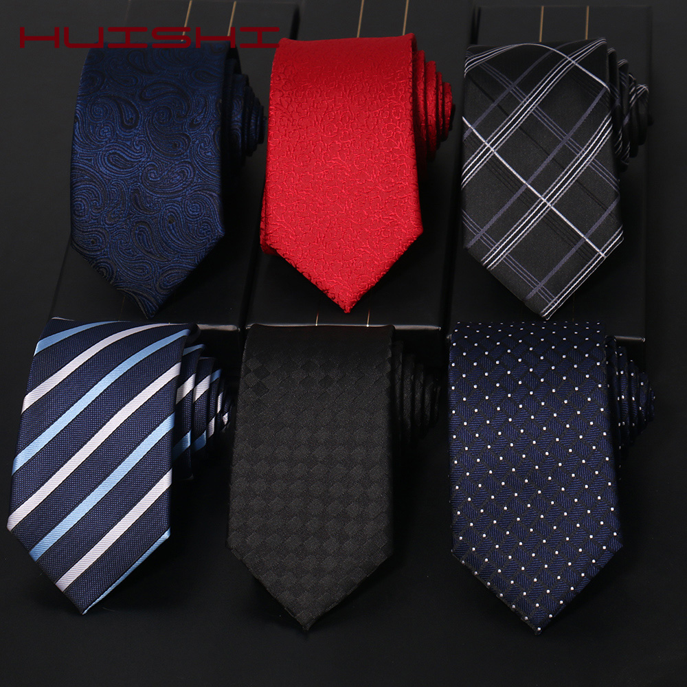HUISHI Necktie For Men New Classic Fashion Plaid Stripe Skinny Men's Ties 5 7 8cm Formal Business Luxury Wedding Party Neckties