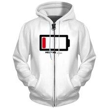 Stylowa kurtka baterii dla mężczyzn moda 3D drukowane kurtki męskie płaszcz z kieszeni jesień znosić Hip Hop bluzy z kapturem na zamek