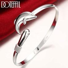 DOTEFFIL-pulsera de plata de ley 925 con delfín para mujer, brazalete de boda, compromiso, amuleto de moda, joyería para fiesta