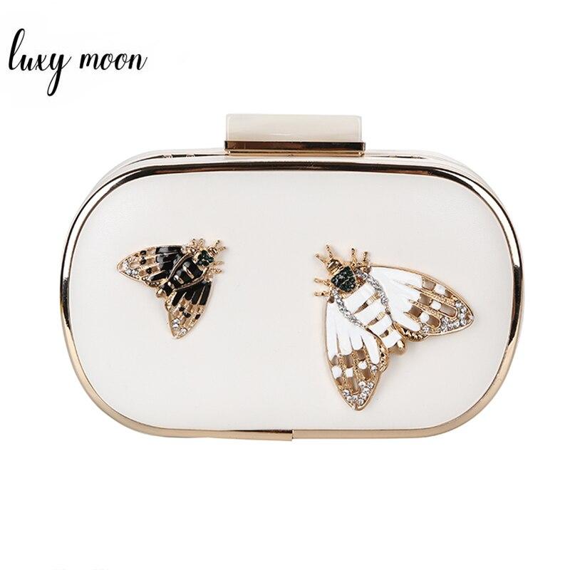 LUXY MOON Evening Bag Diamond Pearls Beaded Insect Clutch Bag For Women's Purse Handbag Wedding Wallet Shoulder Bag White ZD817