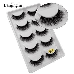 Image 2 - LANJINGLIN 50 kutuları/lot doğal uzun vizon kirpik faux cils yumuşak ses 3d kirpikler el yapımı sahte kirpikler toptan g6