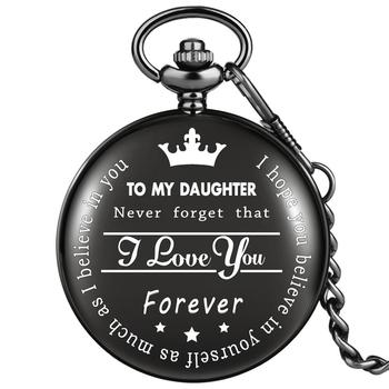TO MY DAUGHTER I LOVE YOU FOREVER Carving Quartz Pocket Watches Necklace Fob Chain Pendant Watch Unisex Gifts for Girls - discount item  28% OFF Pocket & Fob Watches