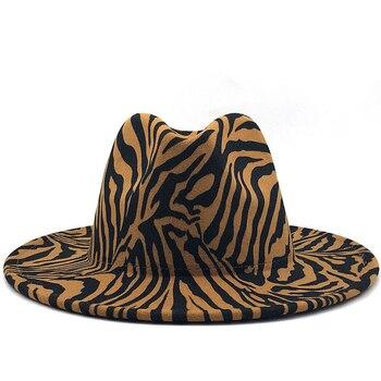 Simple Unisex Flat Brim Wool Felt Jazz Fedora Hats Zebra pattern Leather Band Decor Trilby Panama Formal Wholesale