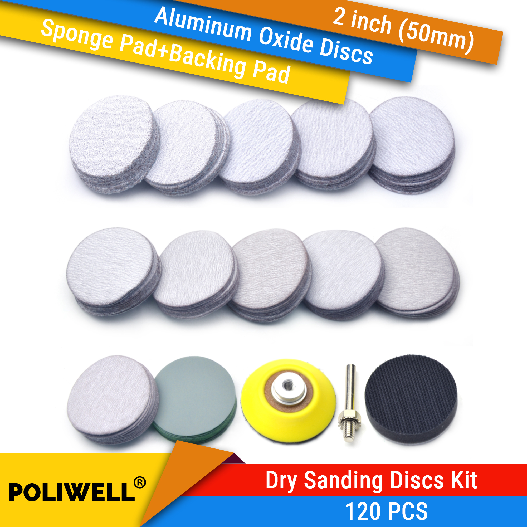120PCS 2 Inch Dry Sanding Discs Kit For Drill Grinder Rotary Tools H&L Sandpaper 60-3000 Grit + 1/4 Inch Backer Pad +Sponge Pad