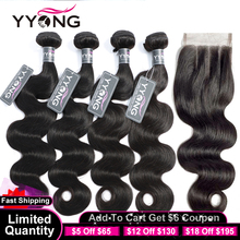 Yyong 3/4 pacotes de onda do corpo com fecho cabelo brasileiro tecer pacotes com fechamento do laço 4x4 pacotes de cabelo humano remy com fechamento