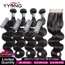 Yyong – Lot de 3/4 tissages brésiliens, cheveux naturels ondulés, avec lace closure 4x4, remy