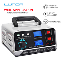 LUNDA 12V 24V 400AH Lead Acid Intelligent Pulse Repair Type car Battery Charger Portable batteries Maintainer For Truck Motorcyc