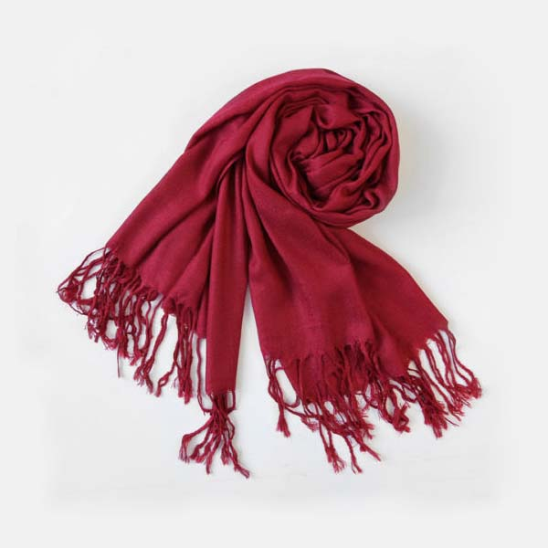 2019 High Quality Creative Women Winter Warm Cashmere Solid Wine Red Color Long Pashmina Shawl Wrap Scarf Size 180x70cm