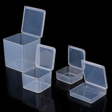 Small Square Clear Transparent  Plastic Jewelry Storage Boxes Beads Crafts Case Containers