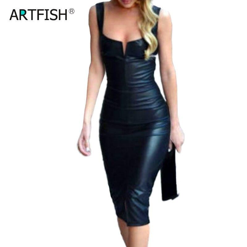 2020 Spring New Women Sexy PU Leather Dress Elegant Formal Party Office Lady Midi Dress 3XL Plus Size V Neck Zipper Black Dress