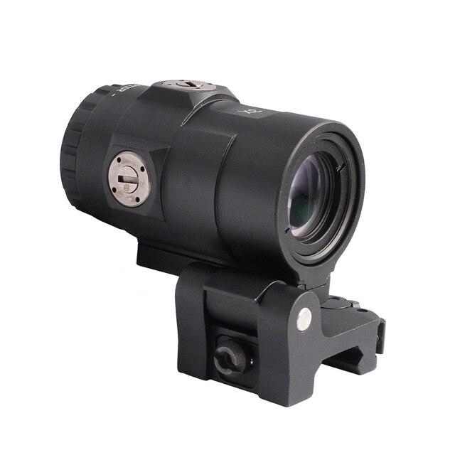 Portée tactique 3X loupe portée vue avec interrupteur sur le côté rapide détachable QD monture pour fusil de chasse