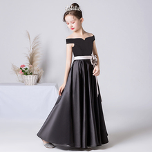 Formal-Dress Evening-Party Off-Shoulder Princess-Gown Satin Wedding Junior Girls Long