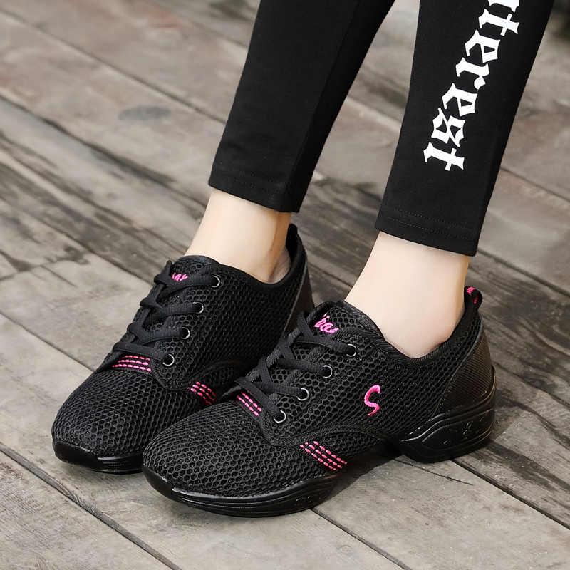 Damskie buty do tańca miękka podeszwa kobieta oddech Jazz hip-hopowe buty sportowe cecha taniec trampki damskie dziewczęce nowoczesne buty 712
