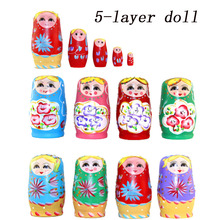 Babushka Russian Matryoshka 5PCS / Set Wooden Doll Nesting Children Russian Hand Painted Matching Doll Toys Children Gift Dolls mnotht 7 layer wooden russian dolls handmade paint animal pattern tasteless dry basswood matryoshka doll education toys l30