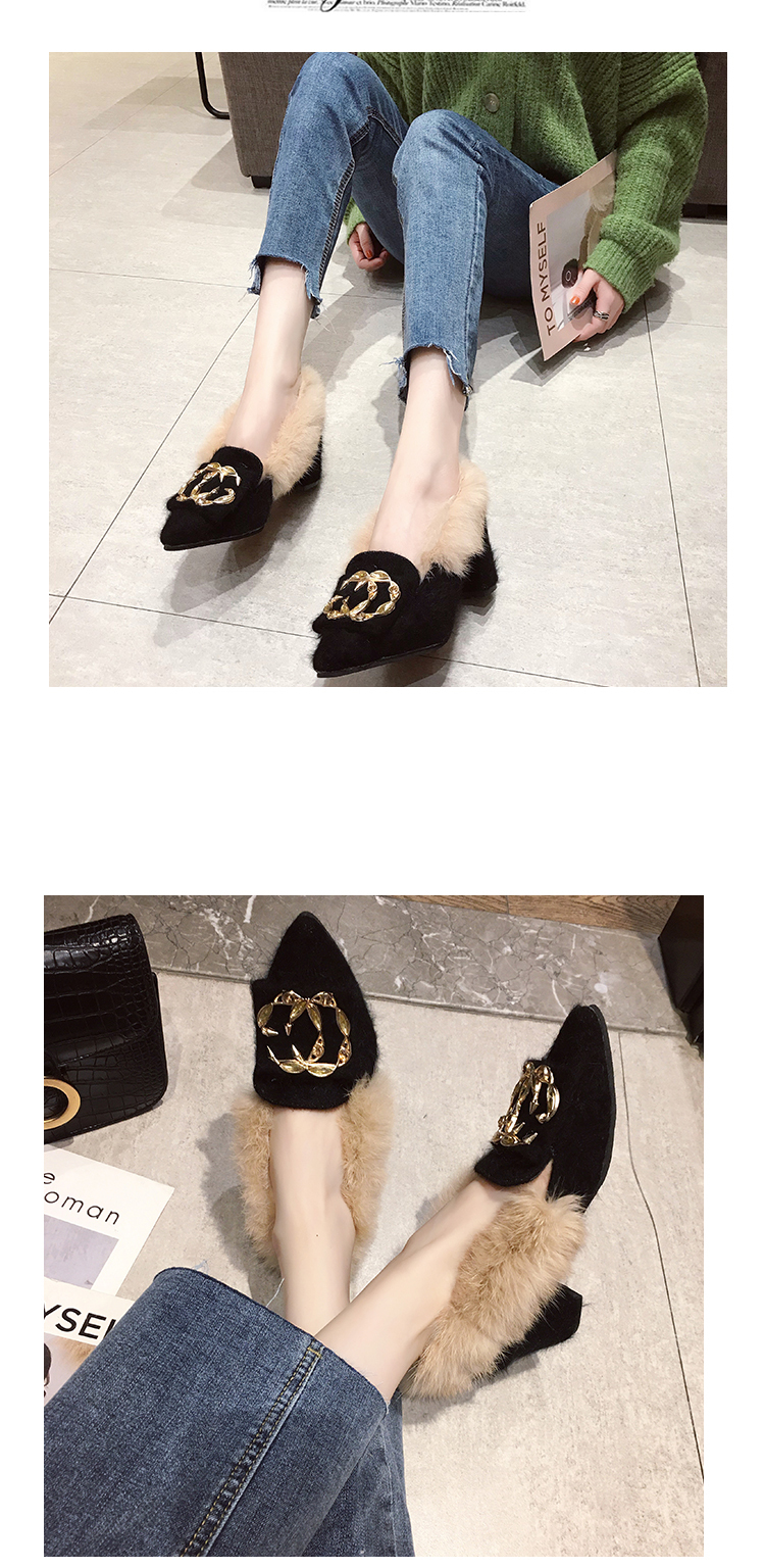 Trendy British Style shoes women women pumps Winter Fur Slides flock pointed toe metal decoration square heels Sleeve Tassel 26