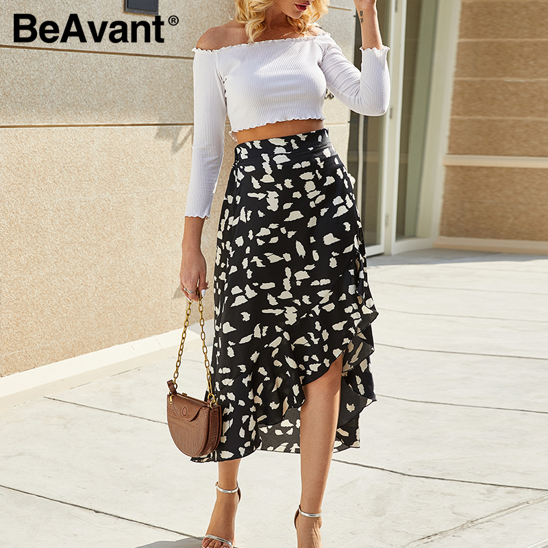 BeAvant Ladies Elegant Skirts High Waist 2020 Asymmetrical Casual Ruffles Midi Skirt Sexy Women Fashion Bodycon Skirts Plus Size