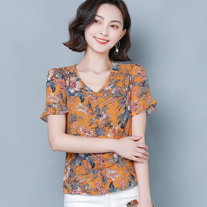 Korean Fashion Chiffon Blouses Women Print Shirt Tops Blusas Femininas Elegante Women Floral Flare Sleeve Blouses Top Plus Size