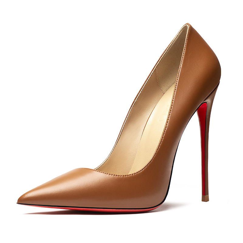 Spring Summer Women Sexy Pumps Red Bottom Heels Elegant Brown Lady High Heeled Shoes for Wedding Party Dress Women Stilettos New