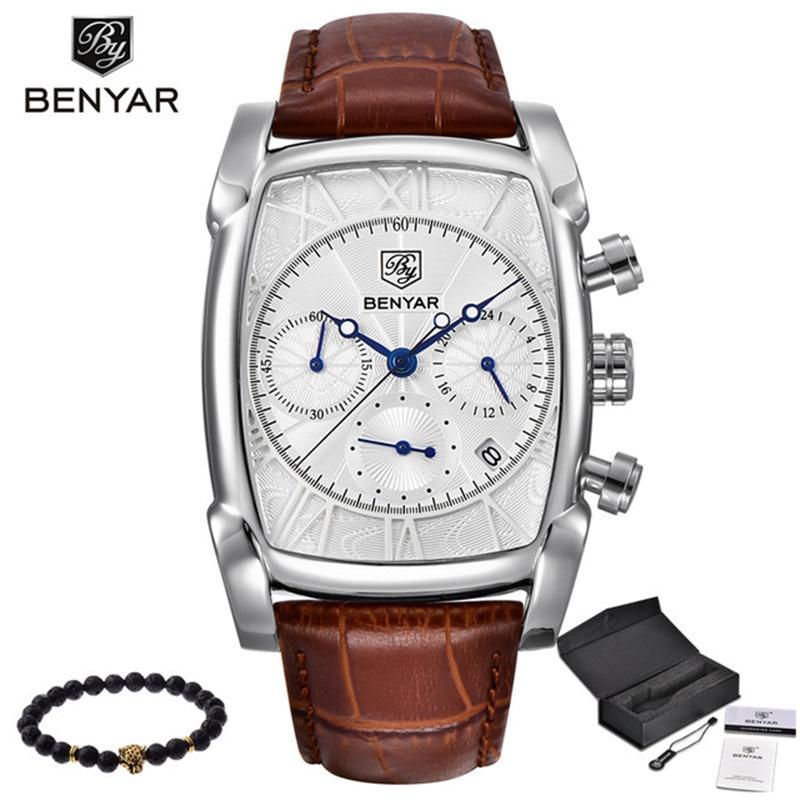 BENYAR Sports Military Men Watches 2019 Top Luxury Brand Man Chronograph Quartz-watch Leather Army Male Clock Relogio Masculino