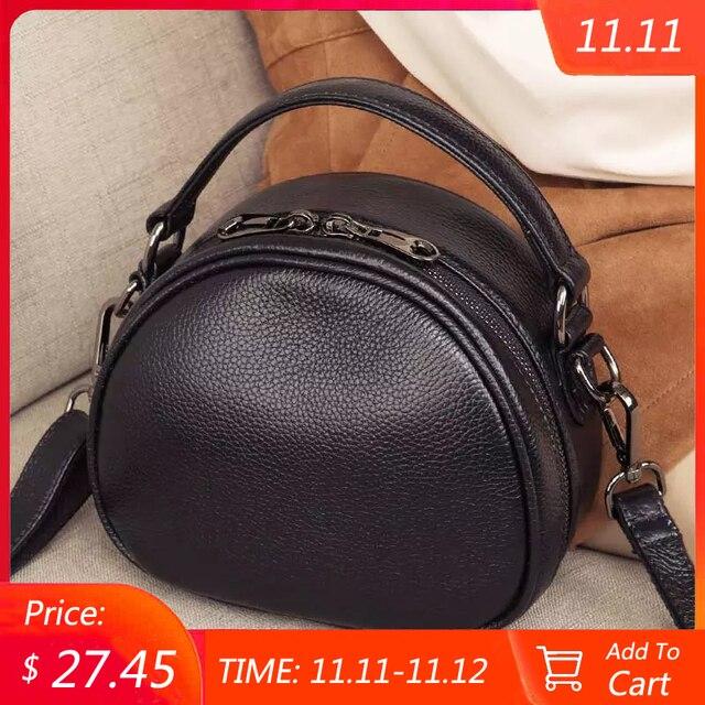 حقيبة جلدية أصلية موضة حقائب كروسبودي للنساء حقيبة كتف السيدات الصغيرة الفاخرة الإناث حقيبة يد محفظة حمل