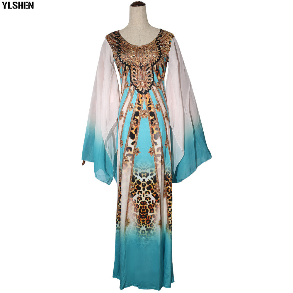 New African Dresses for Women Dashiki Print African Clothes Bazin Riche Sexy Slim Ruffle Sleeve Long Africa Maxi Dress Woman 37