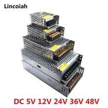 Fonte de alimentação, transformador de iluminação dc 5v 12v 24v 36v 48v adaptador de fonte de alimentação led condutor smps para luz de tira led cctv