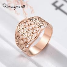 Dawapara Hollow Flower of Life Wedding Bands Rose Gold Stainless Steel Jewelry Crystal Engagement Ring cheap lovers Metal Classic PLANT 13mm All Compatible other RSS2019111206-17 Tension Setting Fashion Rings steel gold rose gold