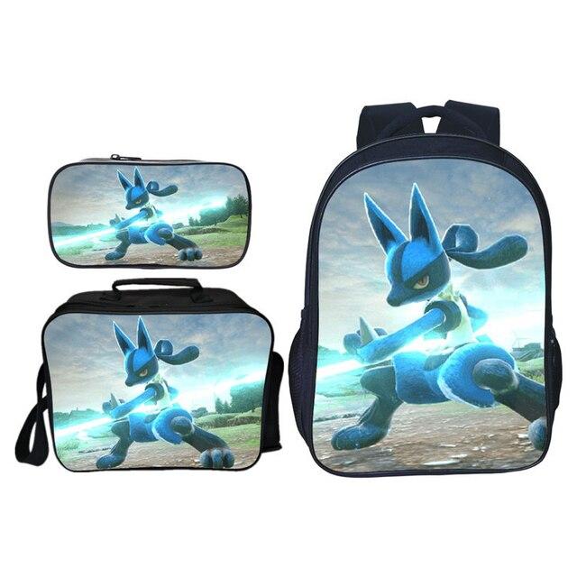 3PCS/Set Mochila pokemon Pikachu Pouch 3D Printing Casual School Bags For Teenage Girls Bookbag | HOTSHOPDIRECT