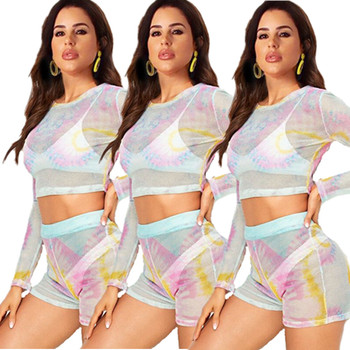 Sexy Club Outfits Tie Dye Set Women Summer 2020 Mesh Sheer Long Sleeve Crop Top and Short Set 2 Piece Transparent Two Piece Set cryptographic tie dye print fashion long sleeve sexy two piece bikini set matching sets crop tops summer beach swinwear outfits