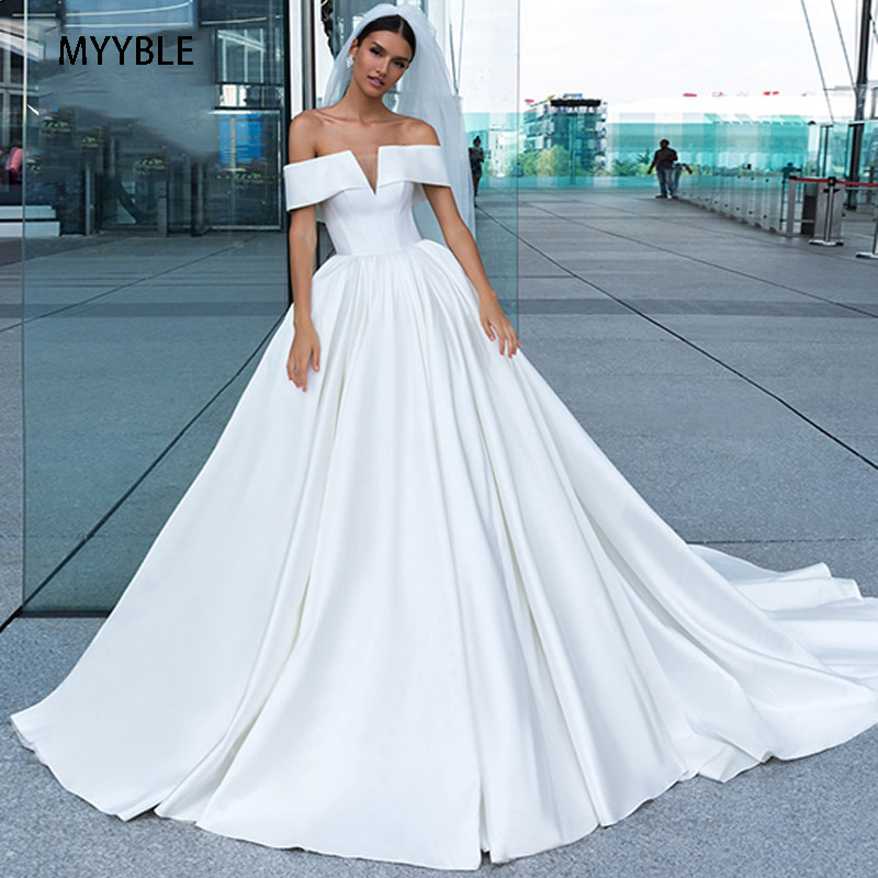 MYYBLE Elegant Satin A-Line Wedding Dress 2020 Off The Shoulder Bride Gown Boat Neck Court Train Plus Size Vestido De Noiva