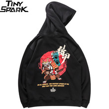 Men Hip Hop Hoodie Sweatshirt Embroidered Dog Samurai Streetwear Chinese Funny Hoodies Pullover Harajuku 2019 Sweat Shirt Cotton