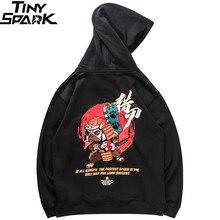 Uomini Hip Hop Felpa Con Cappuccio Ricamato Cane Samurai Streetwear Cinese Divertente Felpe Pullover Harajuku 2019 Camicia di Sudore del Cotone