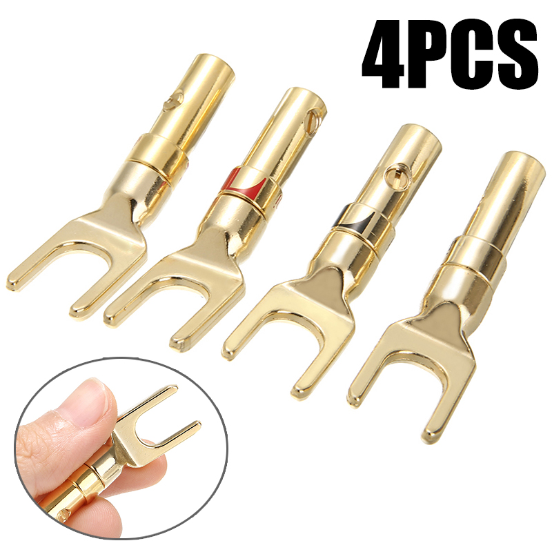 4pcs/lot Gold Plated Speaker Plug Connecter Type Y Spade Speakers Plugs Audio Screw Fork Connector Adapter