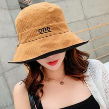 Women Fisherman Hat Foldable Sun Female Double-sided Letter Pattern Sunscreen All-matching Spring and Summer