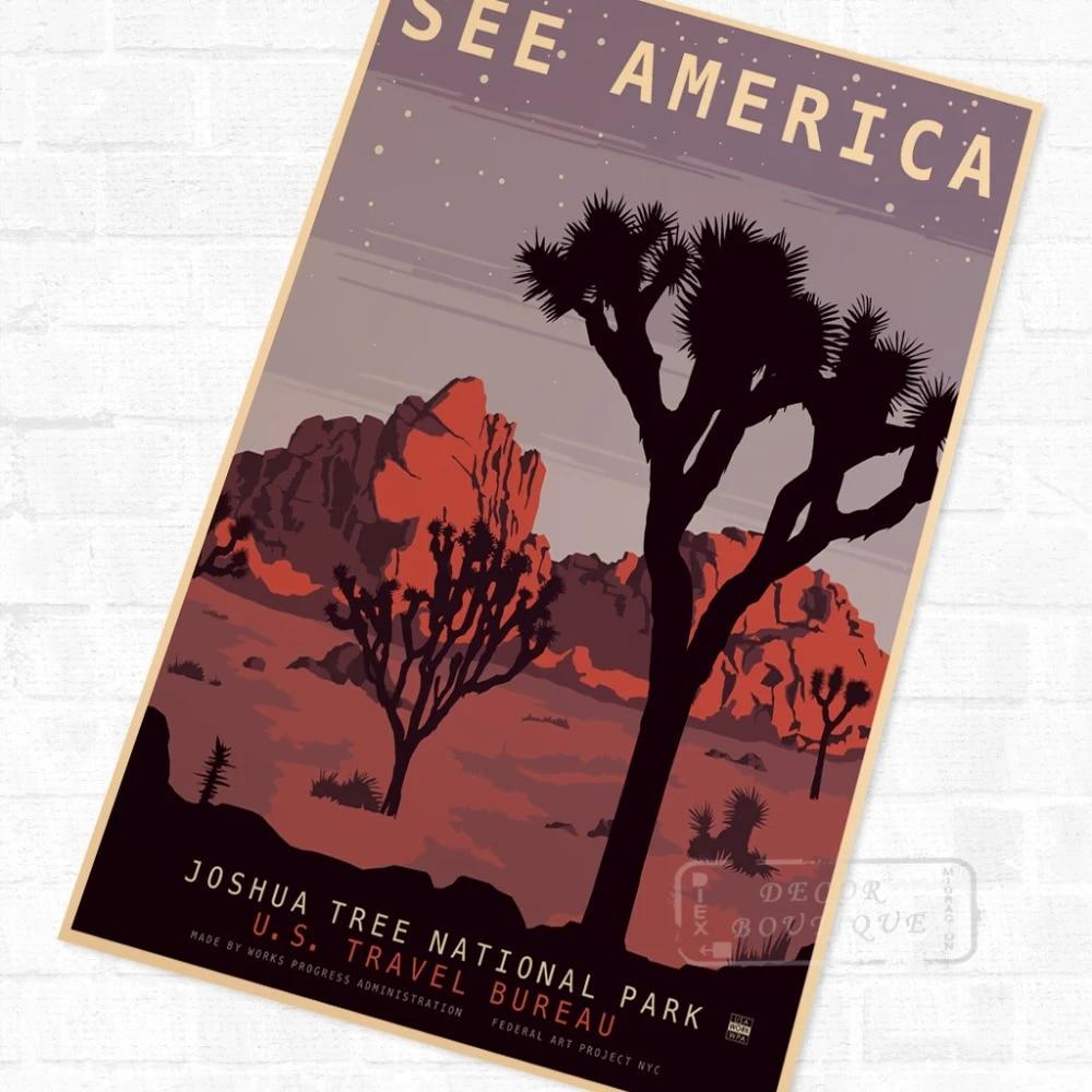 usa joshua tree national park travel vintage retro kraft poster decorative diy wall canvas sticker home bar art posters decorati