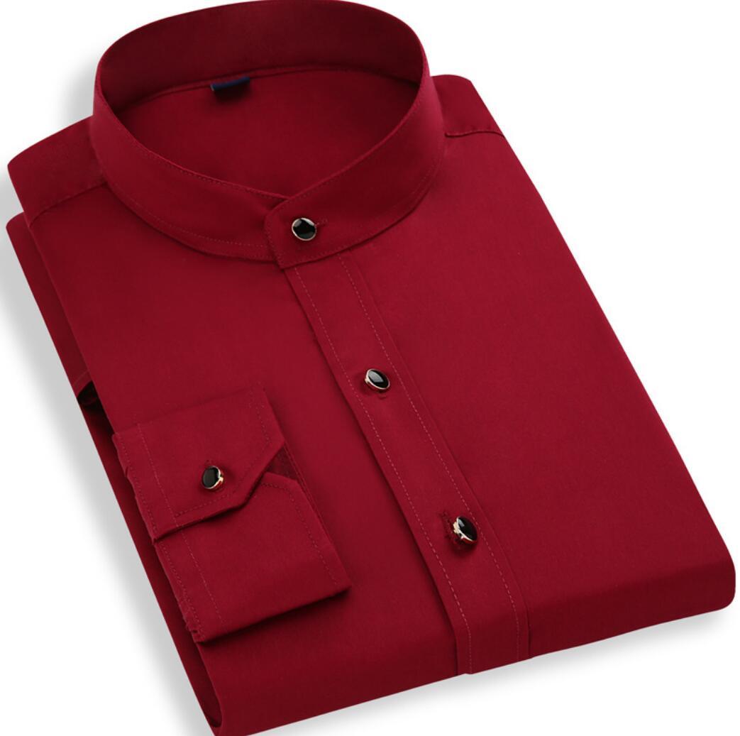 Spring New Collar Shirt Men's Cotton Long-sleeved Business Round Neck Men's White Shirt Slim Cotton Xkj113-01-27
