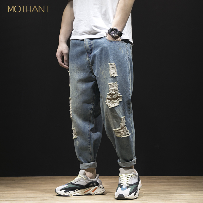 Teenagers Cut Through Nine Points In The Spring And Summer Jeans Men's Trend New Feet Denim Harem Pants Men 9 Points Loose Pants