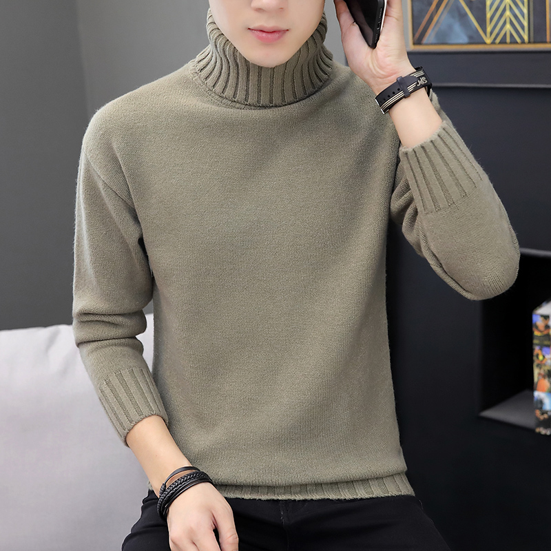 2019 Men Winter High Neck Thick Warm Sweater Men Turtleneck Brand Mens Sweater Slim Fit Double Collar Pullover Men Knitwear Male