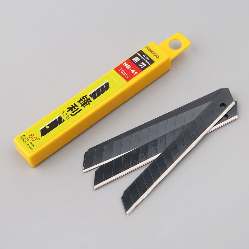 10pcs 60°Ultra Sharp Snap Off Replacement Razor Blades 9mm Shaving Blade Utility Knife Tools Carbon Steel NB-41