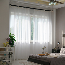 Soild White Tulle Sheer Window Curtains For Living Room  Bedroom Modern Organza Voile Curtains Fabric Drapes 1 pair of sheer window tulle fabric curtains