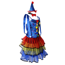Circus Clown Costume Comedy Woman Ladies Dress Party Fancy Dress