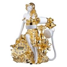 Teléfono fijo con cable dorado bonito Teléfono de niña Beatuy para la decoración de la oficina en casa antiguo teléfono decorativo de moda antigua