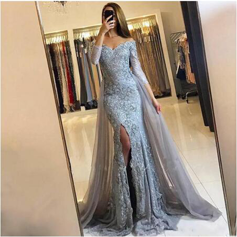Sexy Appliqued Lace Mermaid   Evening     Dress   Elegant V-neck Long Sleeve Court Train Custome Prom Gown robe de soiree