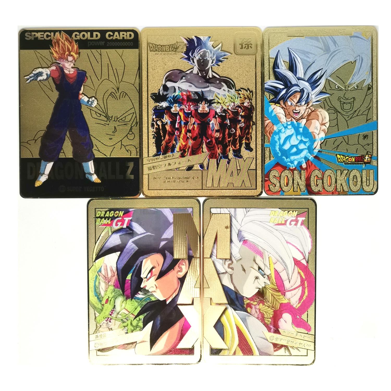 5pcs/set Super Dragon Ball Z Metal Gold Card Heroes Battle Ultra Instinct Goku Vegeta Game Collection Cards