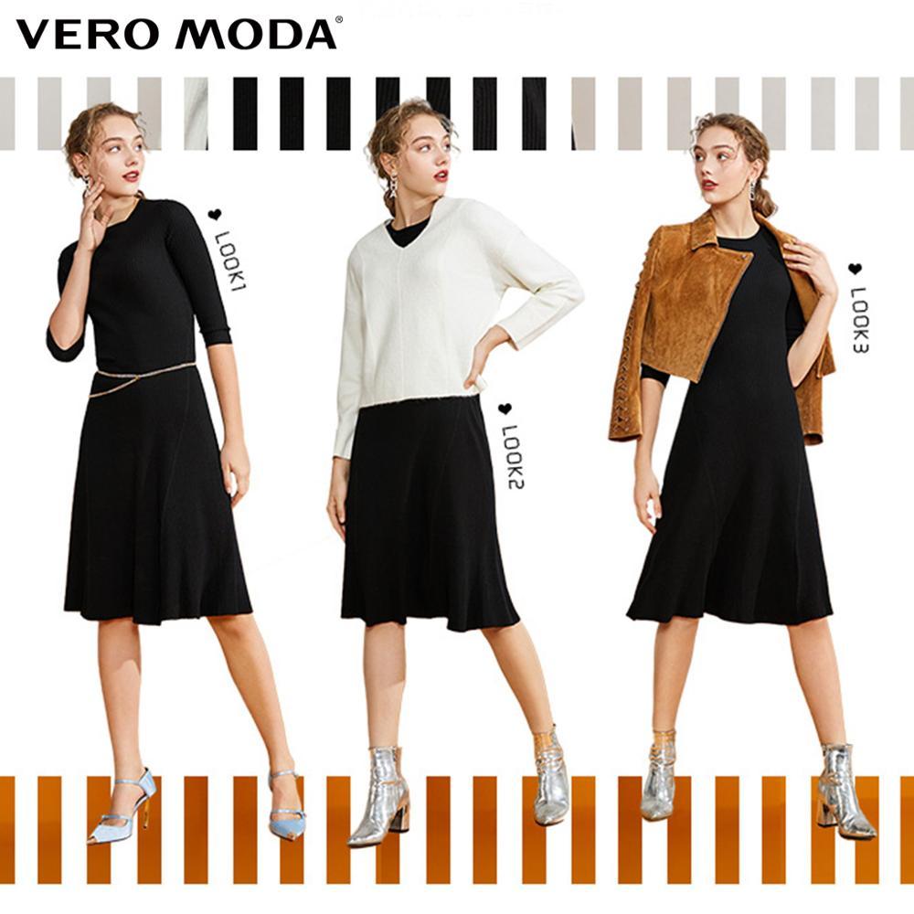 Vero Moda Women's Vintage Style Slim Fit Stretch Round Neckline Knitted Party Dress | 319346513