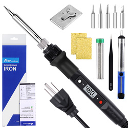 Pistola de soldadura electrónica A-BF, 80W, 220V, LCD Digital, temperatura ajustable, puntas de soldadura de hierro, reparación DIY