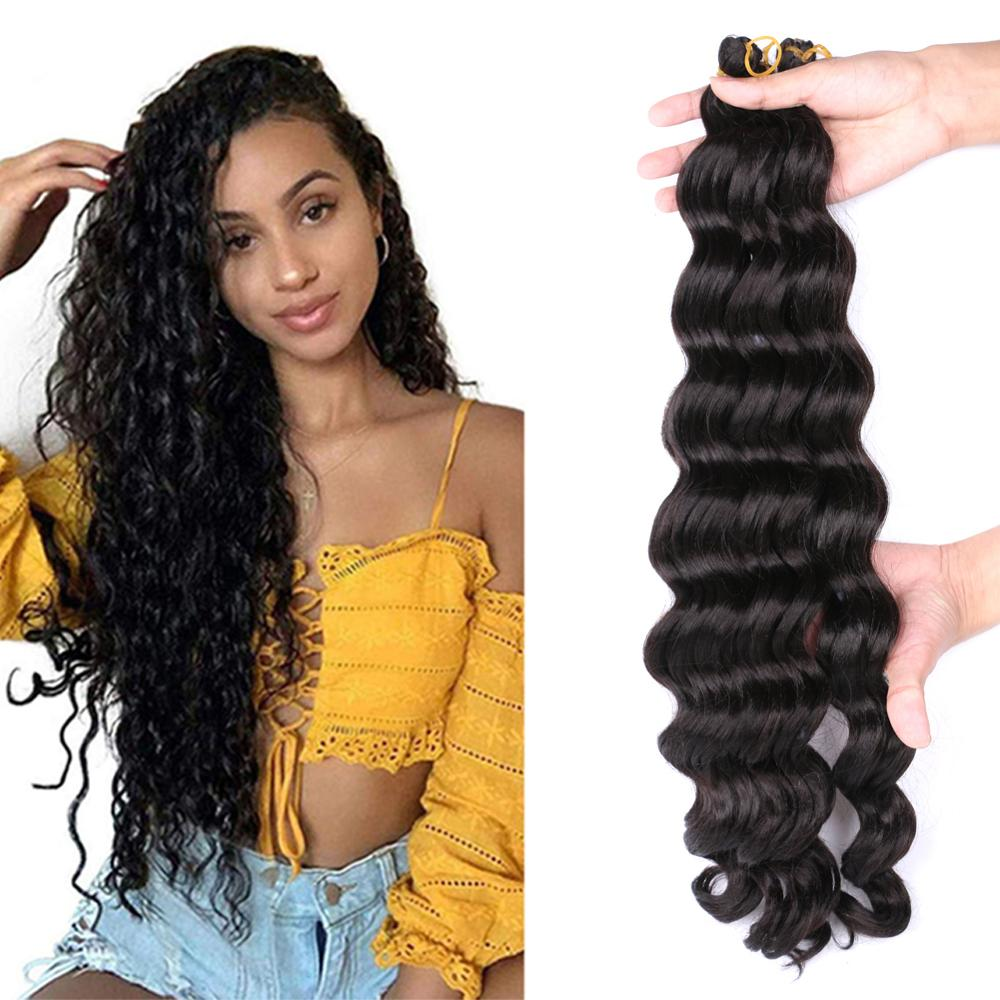 MTMEI HAIR Ombre Braiding Hair Extensions 20 Inch Deep Wave Hair Natural Black Brown Bug Synthetic Crochet Braids 80g/Pack